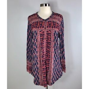 Lucky Brand Boho Tunic Blouse Size Large